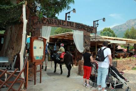 Zugang zur Gite durch das Restaurant - mit Bronco.